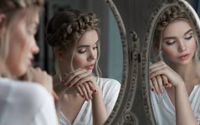 Picture girl, face, reflection, hands, makeup, mirror, Vyacheslav Shcherbakov, Valery Belyaev
