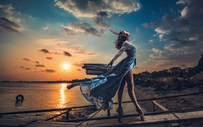 Picture sea, the sky, the sun, clouds, sunset, pose, shore, model, makeup, pier, figure, dress, hairstyle, …