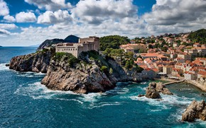 Picture sea, the sky, clouds, Croatia, Dubrovnik