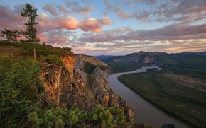 Picture landscape, mountains, nature, river, rocks, Yakutia, white night, Денис Лукьяненко, Саха, Индигирка