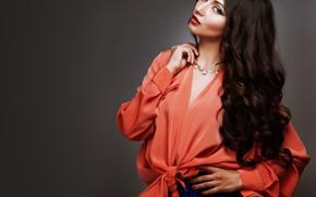 Picture girl, pose, model, hair, hand, makeup, curls, Elena Kharichkina