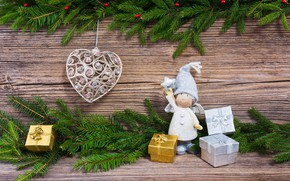 Picture winter, branches, holiday, heart, ate, Christmas, gifts, New year, figure, Rights Reserved, LAIMDOTA GRIVANE