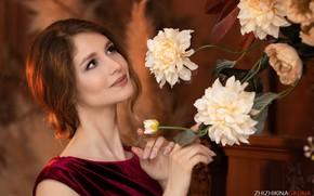 Picture flowers, pose, model, portrait, makeup, hairstyle, brown hair, beauty, Natalia, Galina Jijikine, Galina Zhizhikina