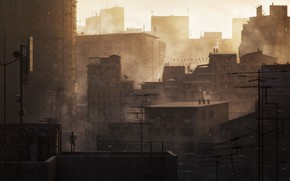 Picture Home, The city, People, Building, City, Roof, Sunrise, Haze, Kitbash3d, Sunrise on the Slums, by …