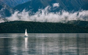 Picture mountains, lake, shore, boat, sails