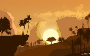 Picture sunset, nature, the steppe, palm trees, dawn, desert, cacti, palm trees and cacti