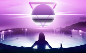 Picture Sunset, The sun, Girl, Music, Star, Background, Triangle, 80s, Neon, Dreams, Pool, 80's, Synth, Retrowave, ...