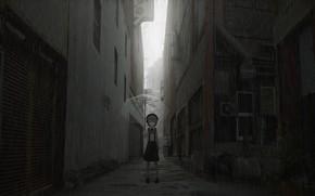 Picture The city, Street, Girl, Umbrella