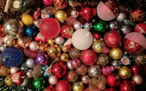 Picture winter, balls, holiday, balls, toys, Christmas, red, New year, pink, tinsel, colorful, bumps, a lot, …
