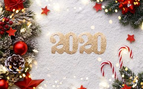 Picture snow, background, toys, new year, bumps, composition, 2020, fir-tree branches