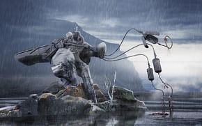 Picture rain, island, construction, pond, Bloodhound bot