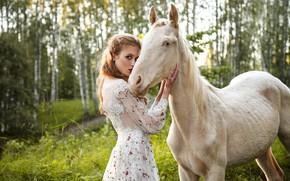 Picture white, girl, horse, horse, Nastya, Светлана Бойнович