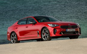 Picture red, pond, Kia, the five-door, Stinger, Stinger GT, fastback