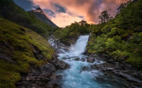 Picture river, morning, slope, the flow of water