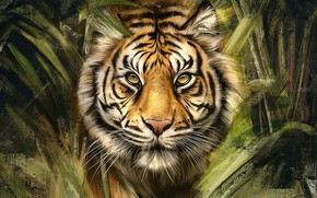 Picture look, face, leaves, tiger, thickets, figure, portrait, art, painting, the bushes, strokes, photoart