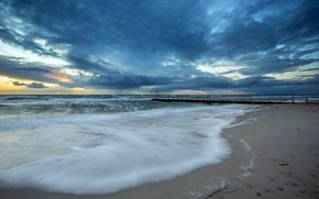 Picture sunset, clouds, Chelsea Pier, Port Phillip bay