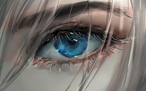 Picture girl, art, blue eyes, face, blonde, digital art, artwork, eyelashes, Eye