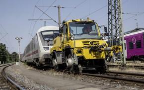 Picture yellow, rails, train, Mercedes-Benz, tug, railroad, composition, tractor, machinery, Unimog, U423