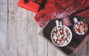 Picture gift, scarf, hot chocolate, marshmallows, Valeria Maksakova