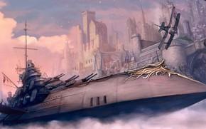 Picture city, fantasy, warship, plane, digital art, artwork, fantasy art, Steampunk, aircarft, bulidings