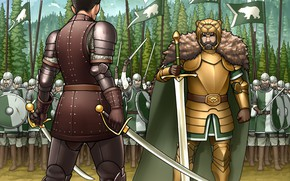 Picture sword, army, bear, warrior, art, helmet, duel, spears, armor, banner, saber