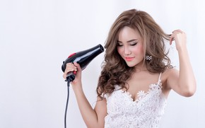 Picture girl, pose, hands, makeup, hairstyle, white background, brown hair, Asian, is, in white, keeps, Hairdryer