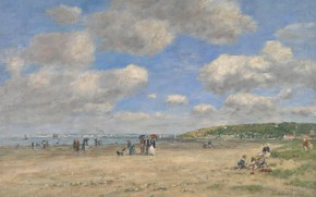 Picture landscape, picture, Eugene Boudin, Eugene Boudin, The beach at Tourgeville-Les-Sablons