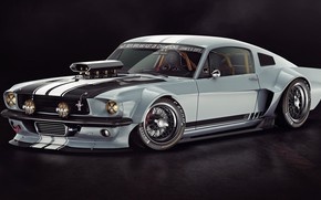 Picture the dark background, Ford Mustang, 1965, Tuning, Ford Mustang, dark background