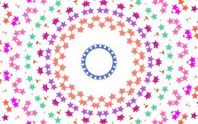 Picture stars, pattern, round, white background, kaleidoscope