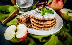 Picture apples, chocolate, honey, cinnamon, pancakes, mint, vanilla, powdered sugar, Anis