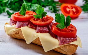 Picture cheese, sandwich, vegetables, tomatoes, sausage