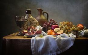 Picture wine, glass, fruit, still life, napkin, Kovaleva Svetlana, Svetlana Kovaleva