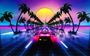 Picture Auto, Road, Music, Lamborghini, Palma, Retro, Machine, Style, Palm trees, Background, 80s, Style, Supercar, Neon, …