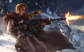 Picture winter, girl, snow, weapons, wolf, Forest