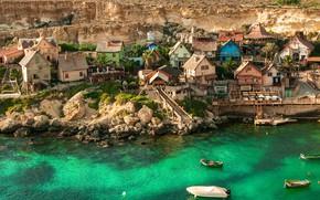 Picture sea, landscape, nature, stones, rocks, home, boats, village, Bay, Malta