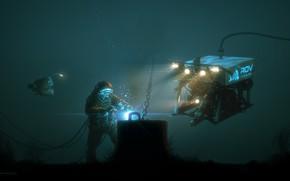 Picture Water, Fish, Equipment, Work, Nikolai Lockert Of, ROV, Underwater vehicle, by Nikolai Lockertsen, Diver, Diver, …