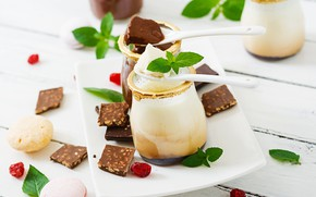 Picture chocolate, cream, vanilla, Panna cotta, desert, Timolina
