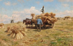 Wallpaper 1918, Peder Mørk Mønsted, Peter Merk Of Menstad, Farmers harvesting to Blackjack near Køge, Harvesting ...