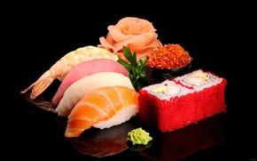 Picture fish, figure, caviar, sushi, ginger, cuts, sashimi