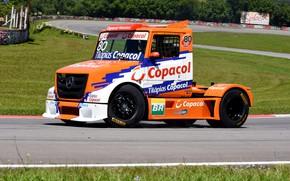 Picture asphalt, orange, Mercedes-Benz, track, truck, racing, bonnet