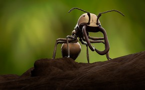 Picture macro, rendering, ant, fangs, insect, green background, digital art, comp-art