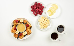 Picture raspberry, table, coffee, berry, plate, bananas, Cup, fruit, honey, waffles, saucers, prunes