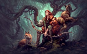 Picture animals, girl, nature, animals, tree, art, Fox, hunter, illustration