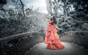 Picture girl, trees, bridge, nature, pose, style, red, branch, treatment, hands, garden, dress, outfit, image, walk, …