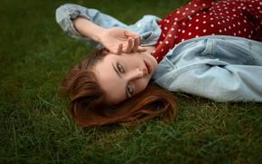 Picture girl, grass, Model, dress, brown hair, photo, blue eyes, bokeh, lips, brunette, portrait, jacket, mouth, …
