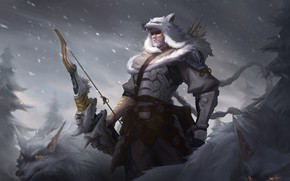 Picture winter, wolf, man, warrior, Hanzo, Overwatch