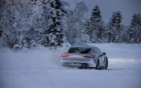Picture road, snow, trees, grey, Porsche, back, 2020, Taycan, Taycan 4S