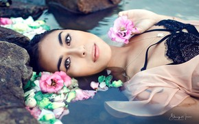 Picture look, water, girl, flowers, face, mood, Natalie, Stacey Moua