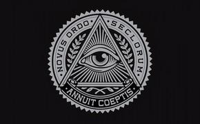 Picture round, logo, emblem, logo, black background, emblem, motto, triangle, black background, circle, triangle, the Illuminati, …