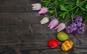 Picture flowers, eggs, Easter, tulips, happy, wood, pink, flowers, tulips, eggs, easter, decoration